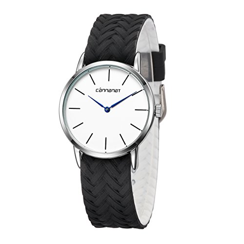 Top Plaza Unisex Casual Simple Silicone Strap Analog Quartz Watch Unique Reversible Doulbe Color Band Japanese Quartz Movement Waterproof Watch(Black and White) by Top Plaza