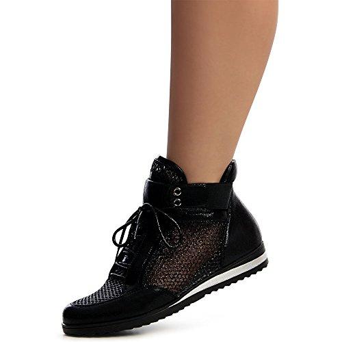 topschuhe24 1222 Damen Keilabsatz Sneaker Turnschuhe High-Top Hochschaft Schwarz