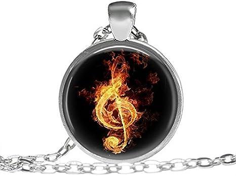 Música Nota Collar en llamas, regalo para músicos, Piano Guitarra ...