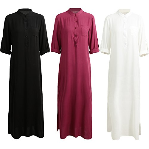 Maxi Black Loose Women Fit Sleeve Button Retro Long Blouse Long Dress Romacci Dress Shirt Shirts Casual Down O4a66xnB