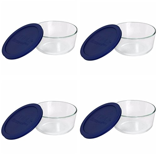 Pyrex Storage Plus 7-cup Round Glass Food Storage Dish Blue Plastic Covers (Pack of 4 Containers)