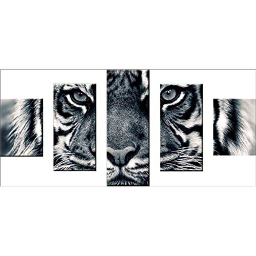 Fenebort 5D DIY Diamond Painting by Numbers Kits,Full Drill DIY 5D Diamond Painting Embroidery Cross Crafts Stitch Kit Home Decor,Tiger,Wolf, Easter Day Gifts, 80x40cm ()
