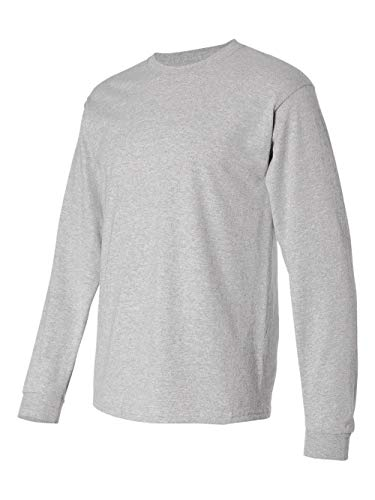 Sleeve Shirt Pique Sport (Hanes TAGLESS 6.1 Long Sleeve T-Shirt, 3XL-Light Steel)