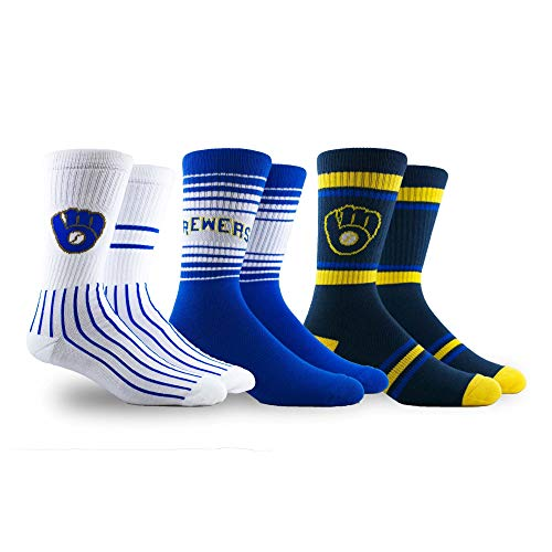PKWY by Stance MLB Men's Team 3-Pack Socks (Large, Milwaukee Brewers) (14 Milwaukee Brewers Jersey)