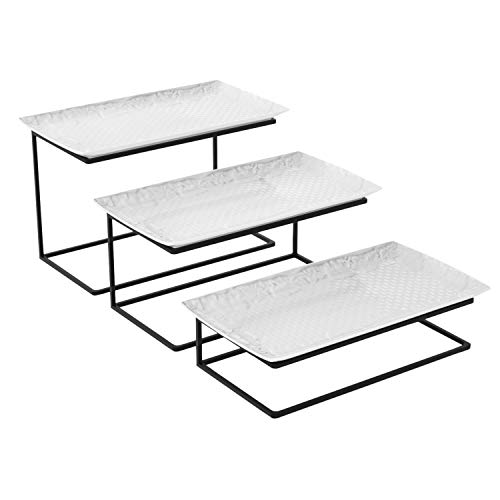 Love-KANKEI Tiered Serving Stand Tiered ServingTray 3 White Rectangular Porcelain Serving Platters Free Combination for Parties to Display Fruit and Food