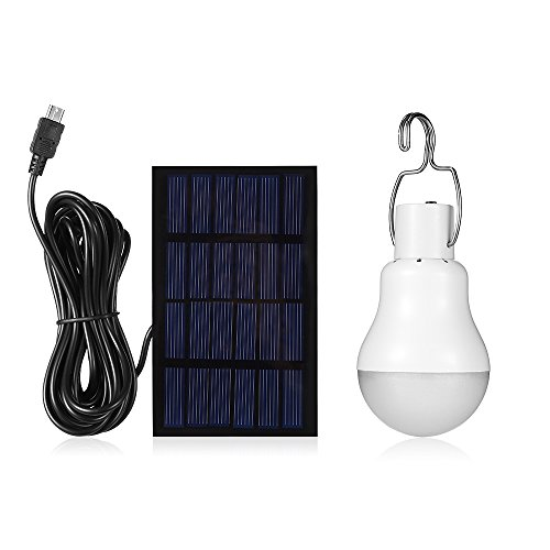 Pavlit Solar Panel Lighting Kit Dusk to Dawn, Solar Powered Led Bulb lights Kits with Solar Panel, 300LM Portable Solar Powered LED Lighting with Light Sensation for Household Outdoor Camping Hiking
