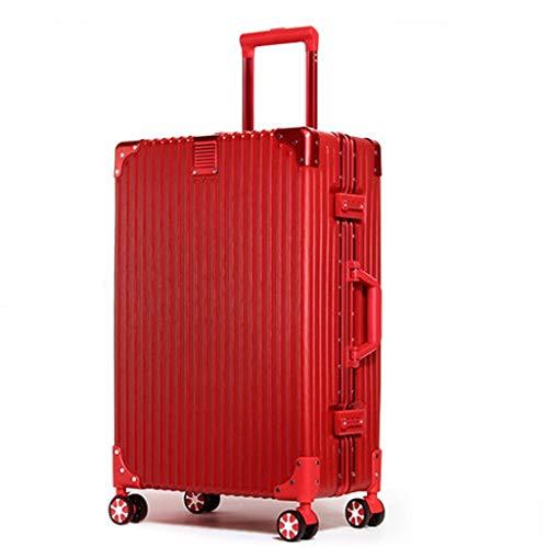 Aluminum 26 Inch Trolley - RHHWJJXB Travel Luggage Trolley case Unisex Aluminum Frame Universal Wheel Luggage Large Capacity Lock Box (Color : Red, Size : 26inch)