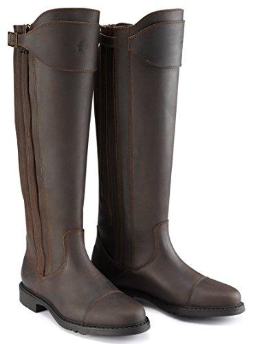 Caldene County Women's Buckland lang, gewachstes Leder, Veloursleder, Reißverschluss-Stiefel, braun-Größe 6