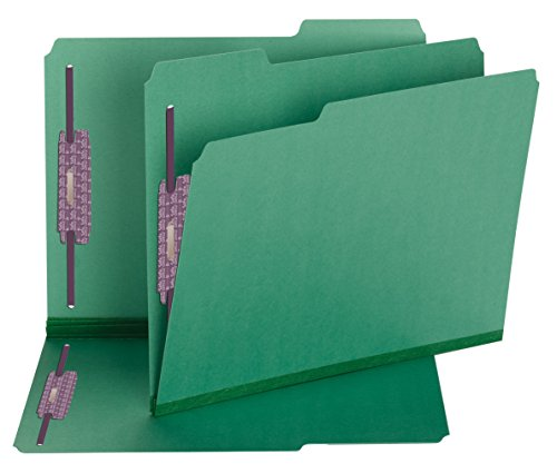 Durable Green Pressboard Expansion Folders (Smead Fastener Folders, Safe SHIELD Fasteners in Positions 1 & 3, 1/3-Cut Tab, 2-Inch Expansion, Letter Size, Green, 25 per Box (14938))