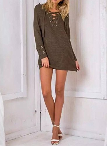 Futurino Women's Lace Up V-Neck Long Sleeve Knit Pullover Sweater Dress Top Photo #3