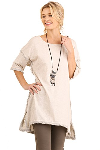 Umgee Textured Knit Tunic with Fringe Accents (Large, Oatmeal)