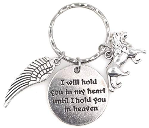 Lion Wings - I Will Hold You in My Heart Until I Hold You in Heaven Angel Wing Lion Keychain 115D