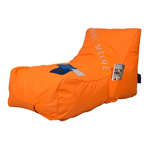 KARMAS PRODUCT Chaise Lounge Chair Self Expanding Sponge Bean Bag Home Furniture Lazy Relax Comfort Bed Sofa for Adults Kids (Orange) by KARMAS PRODUCT