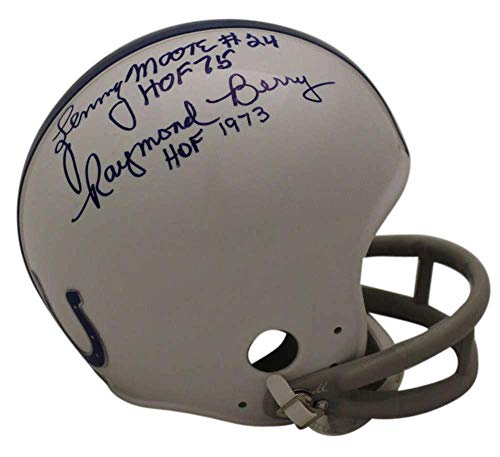 Lenny Moore & Raymond Berry Signed Baltimore Colts 2Bar Mini Helmet OA 23441 - Autographed NFL Mini Helmets ()
