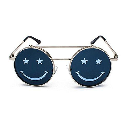 Cadre Style Rond Vintage lunettes Smiley Soleil Argent Hippie Flip Femmes polarisé Bleu Hommes Punk UV400 et de Non Hellomiko Rétro vw0q5P