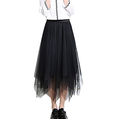 47e552e903 Faldas Mujer Verano Malla Falda Larga Cintura Alta Vintage Asimetricas  Irregular Color Solido Hippies Moda Casual