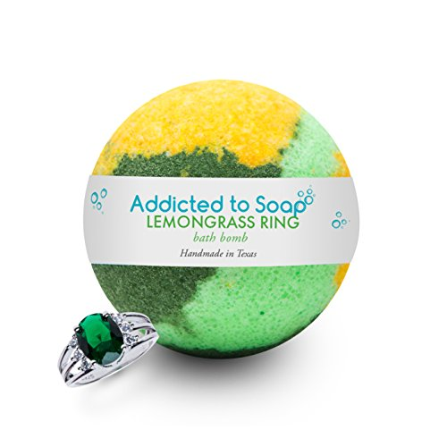 Addicted to Soap - Lemongrass Ring Bath Bomb | Ultra Luxurious - Extra Large 6oz Bath Bomb with STERLING SILVER RING Surprise Inside - Organic & Sensual Relaxation