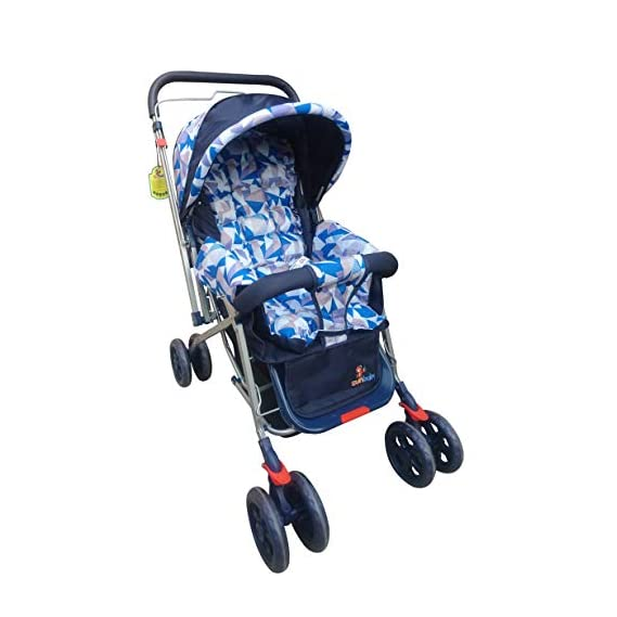 Sunbaby Angel Baby Stroller/Pram for New Born 0-3 Years, Extra Wide/Thick Cushion seat, Reversible Handle, Mosquito net