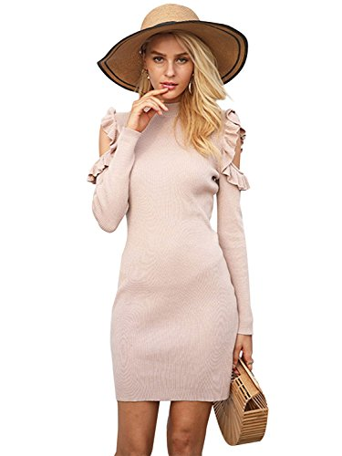 Glamaker Women's Pullover Cold Shoulder Sweater Dress Women Long Sleeve Sweater Dresses