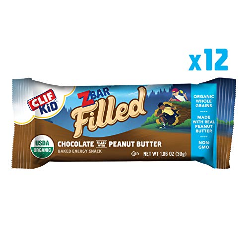 Clif Kid ZBAR Filled - Organic Granola Bars - Chocolate Peanut Butter - (1.06 Ounce Energy Bars, Kids Snacks, 12 Count) (Packaging May Vary)