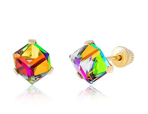 14K Yellow Gold Rainbow CZ Disco Cube Stud Earrings for Women & Girls - Hypoallergenic for Sensitive Ears