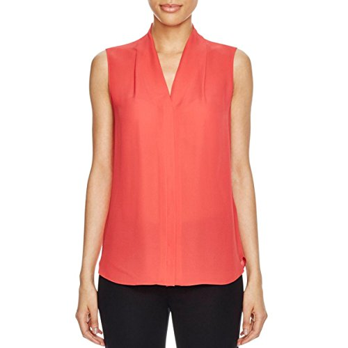 Elie Tahari Womens Ginny Silk Sleeveless Button-Down Top Red S by Elie Tahari