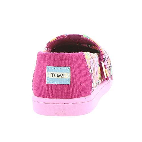 TOMS Kids Baby Girl's Alpargata (Infant/Toddler/Little Kid) Fuchsia Flower Child Print/Glow in The Dark 6 Toddler