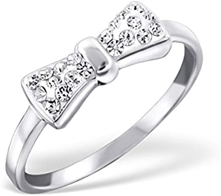 Polished and Nickel Free Liara Tie Bow Ring with Crystal Sterling Silver 925
