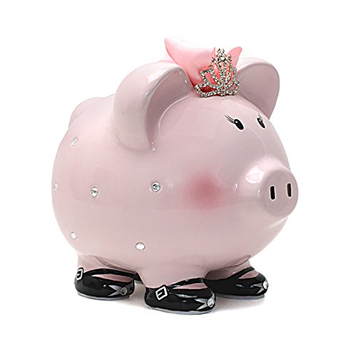 Tiara Bank Princess Piggy - Child to Cherish Ceramic Princess Piggy Bank for Girls