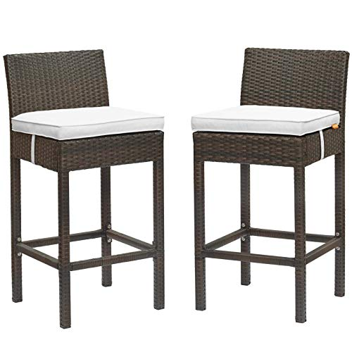 Modway EEI-3603-BRN-WHI Conduit Bar Stool Outdoor Patio Wicker Rattan Set of 2 in Brown White ()