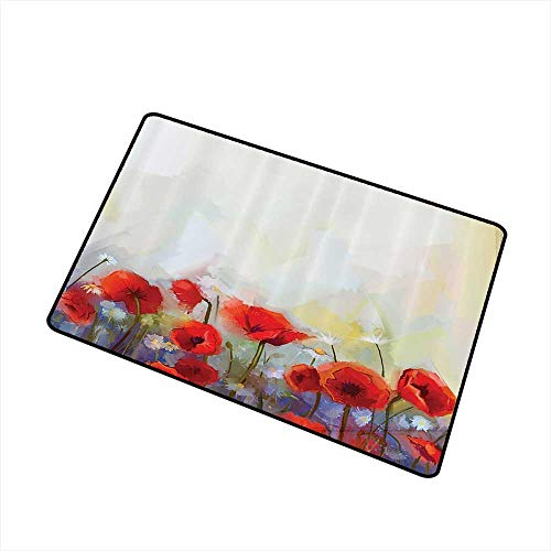 Interesting Doormat Watercolor Flower Decor Collection Poppies Blossoms Meadow Wildflower Spring Season Painting W16 xL20 Personality Red Ivory - Poppy Syracuse