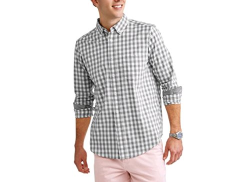 George Men's Wrinkle Resistant Stretch Poplin Button Down Long Sleeve Shirt (Small 34/36, Grey Check) (Shirt Spandex Stretch Poplin)