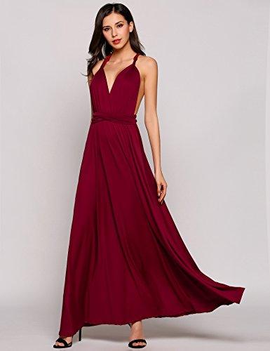 Teamyy Vestido largo de fiesta sin mangas vestido de vendaje sin espalda para las mujeres Vino rojo