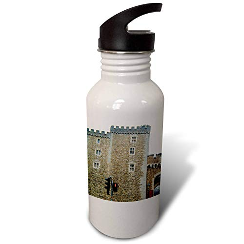 3dRose Jos Fauxtographee- Cardiff Wales Castle Wall - The Outer Walls of The Cardiff Castle in Wales on a Main Street - Flip Straw 21oz Water Bottle ()