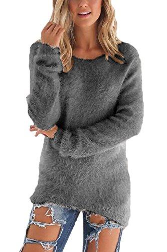 Las Mujeres Suéter De Manga Larga Jerseys Camisa Tops Sueltos Grey