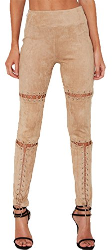 Longwu Women High Waist Lace-Up Stretchy Suede Bandage Pencil Trousers Skinny Pants Apricot-L (Suede Framed)