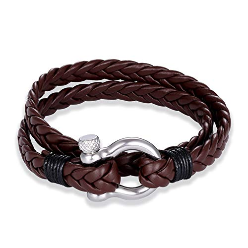 Peony red Horseshoe Buckle Charm Anchor Leather Men Women Nautical Survival Rope Chain Bracelet Summer Style,Coffee (Horseshoe Watch Toggle)