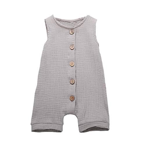 (Newborn Baby Boys Girls Romper Jumpsuit Solid Sveless Bodysuit Infant Unisex Summer Clothes Outfits 3M-24M Gray)