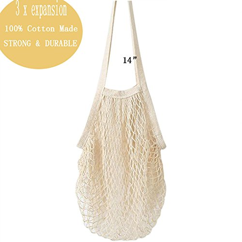 2Pack Reusable Large 100% Cotton Storage Mesh Tote Shopping Bag for Beach Children Toys Collection Grocery Bathroom Laundry (Beige)