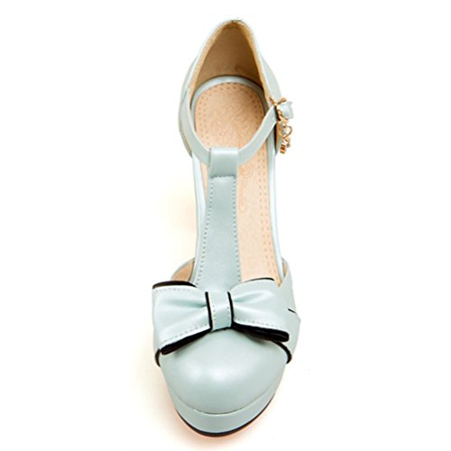 Toe Closed Bar Janes Womens High Heels Block Blue Shoes Strappy Pumps D'Orsay Mary T Atyche Heels Summer BfqvpSz