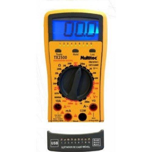 KIT MULTIMETRO DIGITAL AC/DC TESTADOR DE CABO REMOTO DE REDE,USB E TELEFONIA PROFISSIONAL MULTITOC