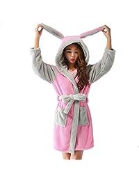 Xoemir Women Girls Flannel Pajama Night Robe Lovely Animal Hooded Robe With Belt
