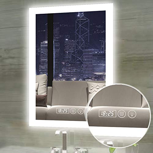 Gesipor LED Bathroom Mirror Lighted Wall Mounted Smart Vanity Mirrors+Anti-Fog& Touch Screen - And Clock Lights With Bathroom Vanity Mirrors