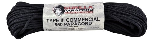 100ft – Black – Gorilla Paracord® Nylon 550lb Type III 7 Strand Paracord Made in the U.S.A., Outdoor Stuffs