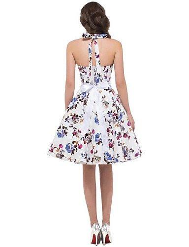 PU&PU Robe Aux femmes Trapèze Vintage,Fleur Licou Mi-long Coton , white-xl , white-xl