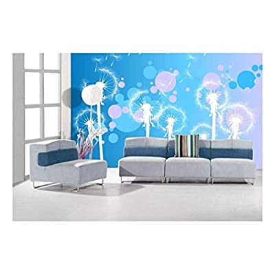 Marvelous Expertise, Classic Design, Fun Cute White Dandelions on a Pink and Blue Vibrant Gradient Bokeh Background Wall Mural