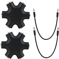 Zilong Multi Headphone Splitter, 3.5mm Earphone Audio Jack Splitter, 1 Male to 5 Port Female Earphone Headset Adapter (Pack of 2)