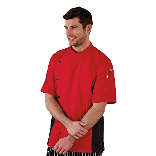 Five Star Chef Apparel Unisex Moisture Wicking Side Panel Coat (Red, Medium) by Five Star Chef Apparel