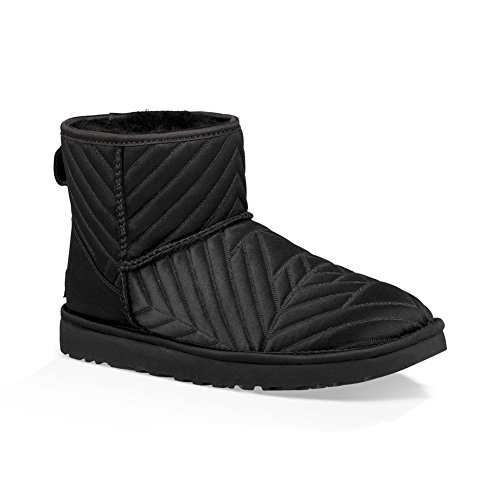 UGG Womens Classic Mini Quilted Satin Boot, Black, Size 6