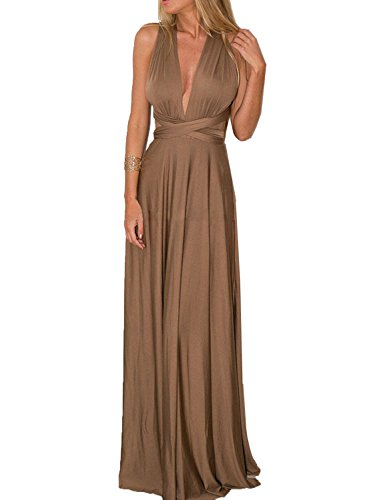 CHOiES record your inspired fashion Women's Infinity Gown Dress Brown Multi-Way Strap Wrap Convertible Maxi Dress S